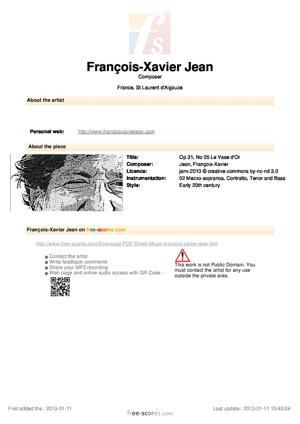Sheet Music Op 31, No 05 Le Vase d'Or