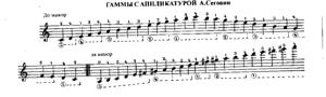 Sheet Music Scales with Segovia's fingering
