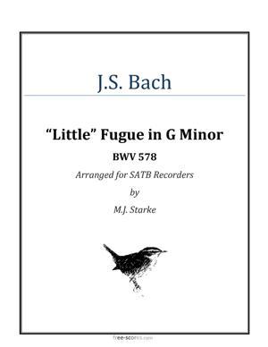 """Sheet Music """"Little"""" Fugue in G Minor"""