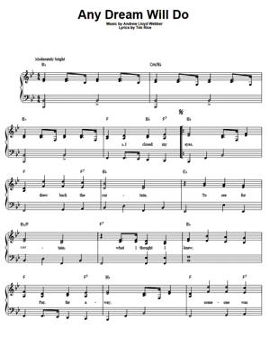 Sheet Music Andrew Lloyd Webber - Any Dream Will Do (from Joseph And The Amazing Technicolor Dreamcoat)