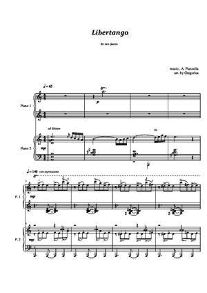 Sheet Music Variations on a theme of Libertango 1)two pianos, 2)piano solo