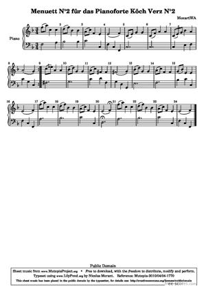 Sheet Music Menuett N°2 fûr das Pianoforte Kôch Verz N°2