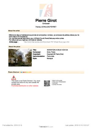 Sheet Music INVENTION à 2 VOIX 04