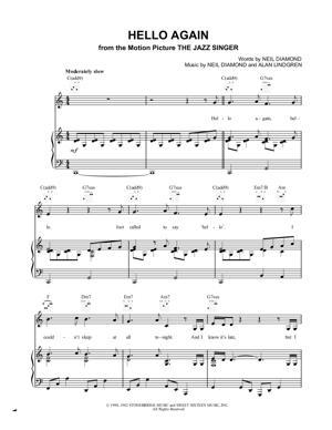 Sheet Music Neil Diamond - Hello Again