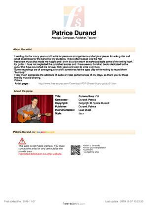 Sheet Music Parterre Rose n°0