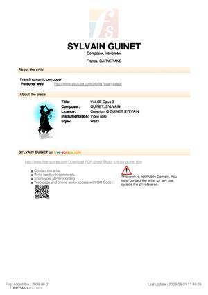 Sheet Music Sylvain Guinet - Viennese Waltz