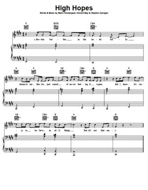 Sheet Music Kodaline - High Hopes