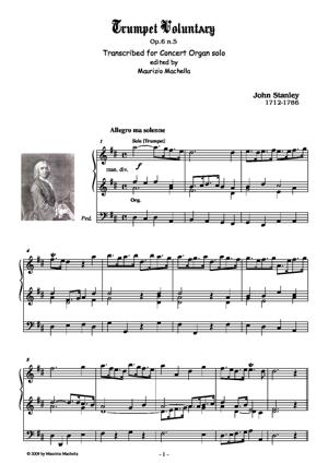 Sheet Music Trumpet Voluntary. Transcribed for Concert Organ solo.