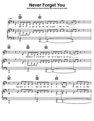 Sheet Music Zara Larsson - Never Forget You