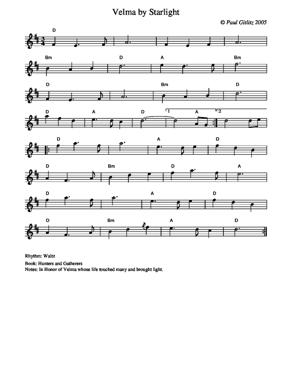 Sheet Music Velma by Starlight