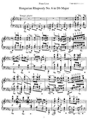 Sheet Music Hungarian Rhapsody No. 6 in D-flat major