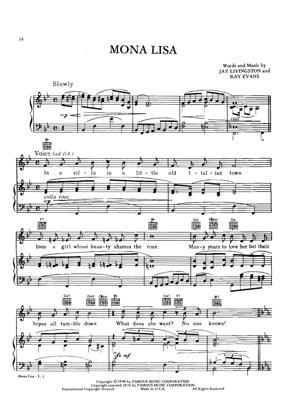 Sheet Music Nat king Cole - Mona Lisa