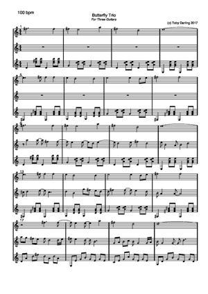 Sheet Music Butterfly Trio