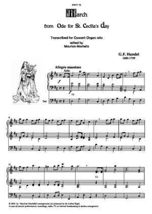 """Sheet Music March from """"Ode for St.Cecilia's Day"""" Transcribed for Concert Organ solo"""