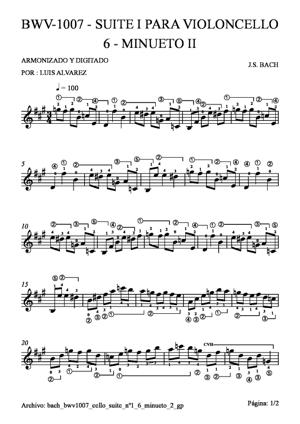 Sheet Music bach bwv1007 cello suite nº1 6 minueto 2