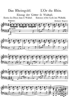 "Sheet Music Das Rheingold ""Entrance of the Gods into Walhalla"""