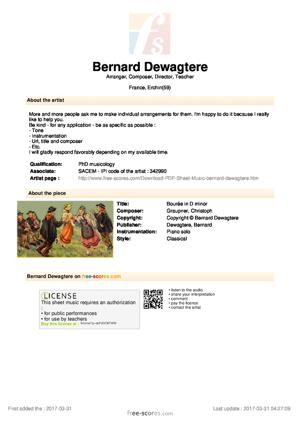 Sheet Music Bourée in D minor