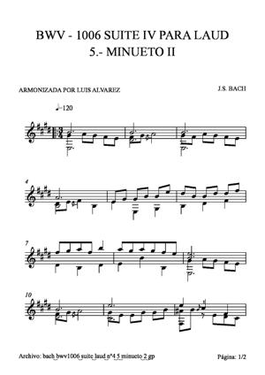 Sheet Music bach bwv1006 suite laud nº4 5 minueto2