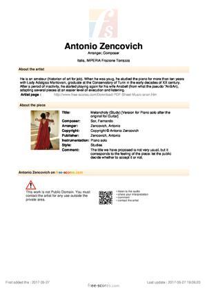 Sheet Music Melancholy (Study Op. 35 n° 18)