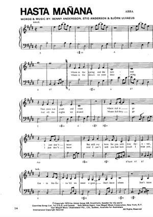 Sheet Music ABBA - Hasta Mañana
