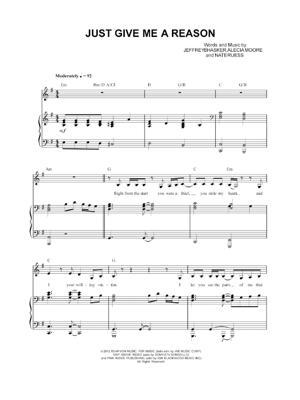 Sheet Music Pink - Just Give Me a Reason