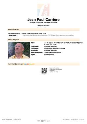 Sheet Music Air de la pluie (Air of the rain) for medium voice and piano in F minor