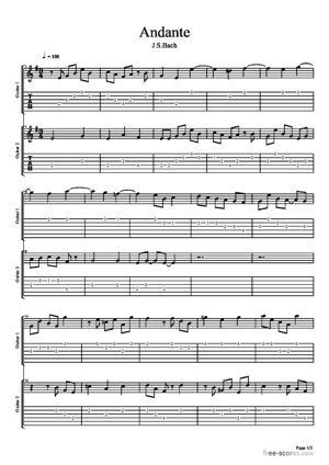 Sheet Music Andante (guitar duet)