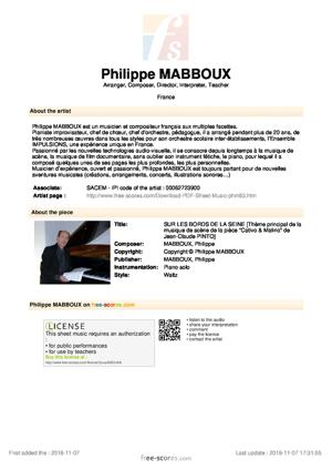 Sheet Music SUR LES BORDS DE LA SEINE