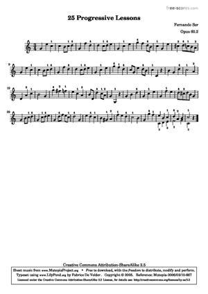 Sheet Music 25 Leçons Progressives, no 2