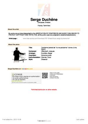 Sheet Music Tyrolienne