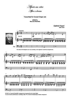 Sheet Music Après un rêve. Transcribed for Concert Organ solo