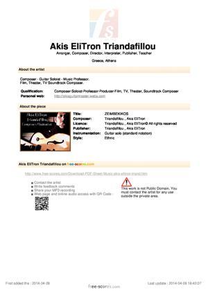 Sheet Music ZEIMBEKIKOS