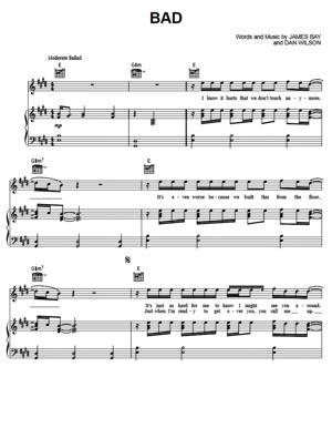 Sheet Music James Bay - Bad