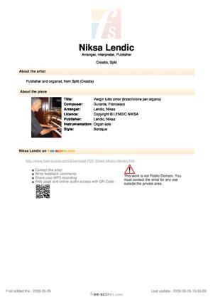 Sheet Music Vergin tutto amor (trascrizione per organo)