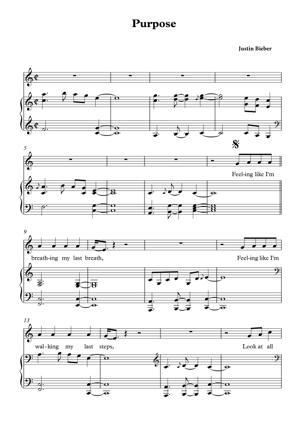 Sheet Music Justin Bieber - Purpose
