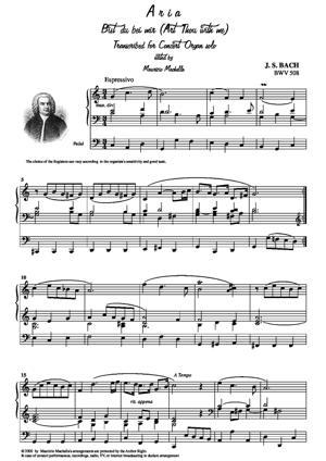 "Sheet Music Aria Sacra ""Bist du bei mir"" Transcribed for Concert Organ solo"