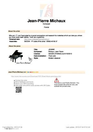 Sheet Music JEANNE