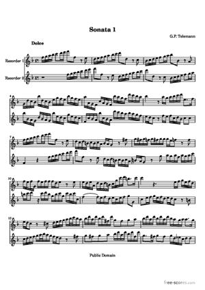 Sheet Music Sonatas for two recorders
