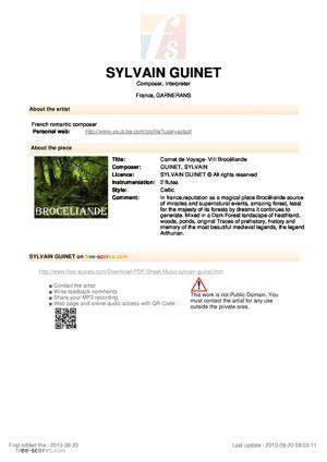 Sheet Music Carnet de Voyage- VIII Brocéliande