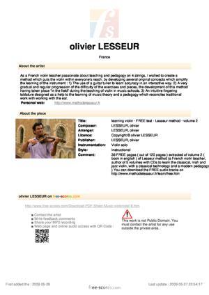 Sheet Music learning violin - FREE test - Lesseur method - volume 2