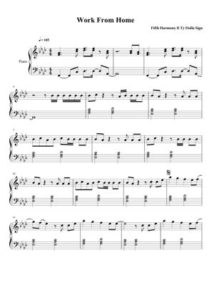 Sheet Music Fifth Harmony - Work From Home