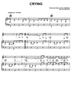 Sheet Music Roy Orbison - Crying