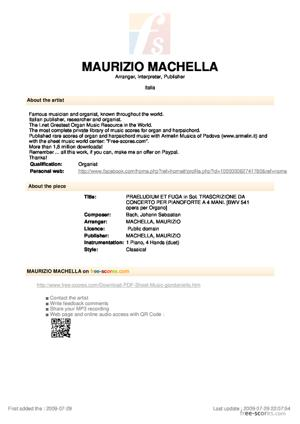 Sheet Music PRAELUDIUM ET FUGA in Sol. TRASCRIZIONE DA CONCERTO PER PIANOFORTE A 4 MANI.