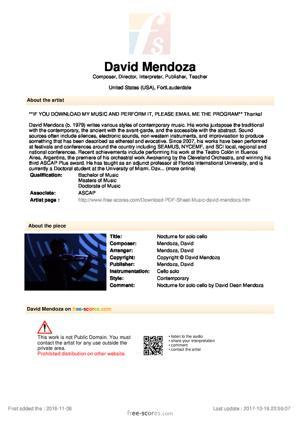 Sheet Music Nocturne for solo cello
