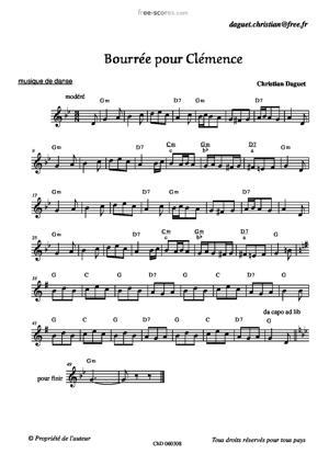 Sheet Music Bourrée pour Clémence