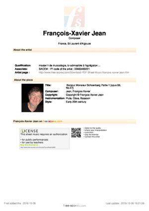 Sheet Music Bonjour Monsieur Schoenberg Partie 1