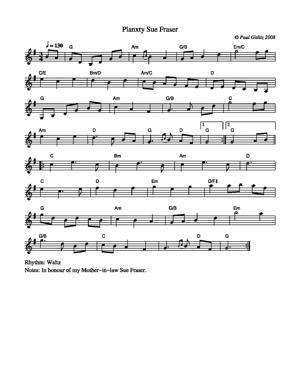 Sheet Music Planxty Sue Fraser
