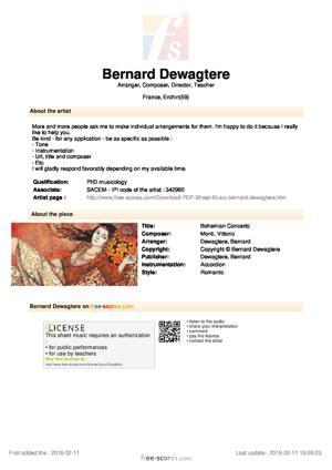 Sheet Music Bohemian Concerto