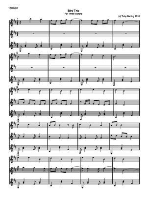 Sheet Music Bird Trio