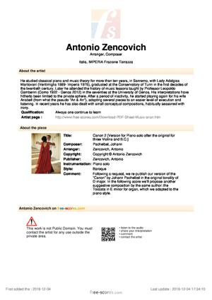 Sheet Music Canon in D major